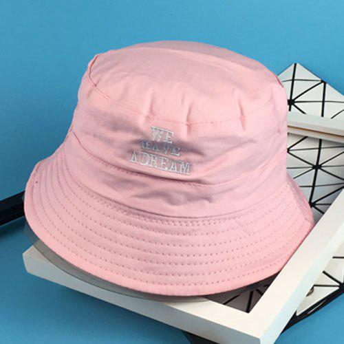 Stylish Majuscule English Sentence Embroidery Flat Top Women's Bucket Hat - PINK