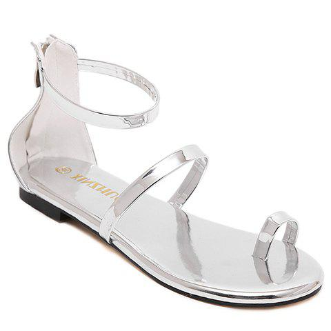 Casual Patent Leather and Zipper Design Women's Sandals - SILVER 39