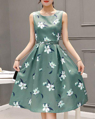 Sweet Style Sleeveless Round Neck Floral Print Zippered Women's Dress