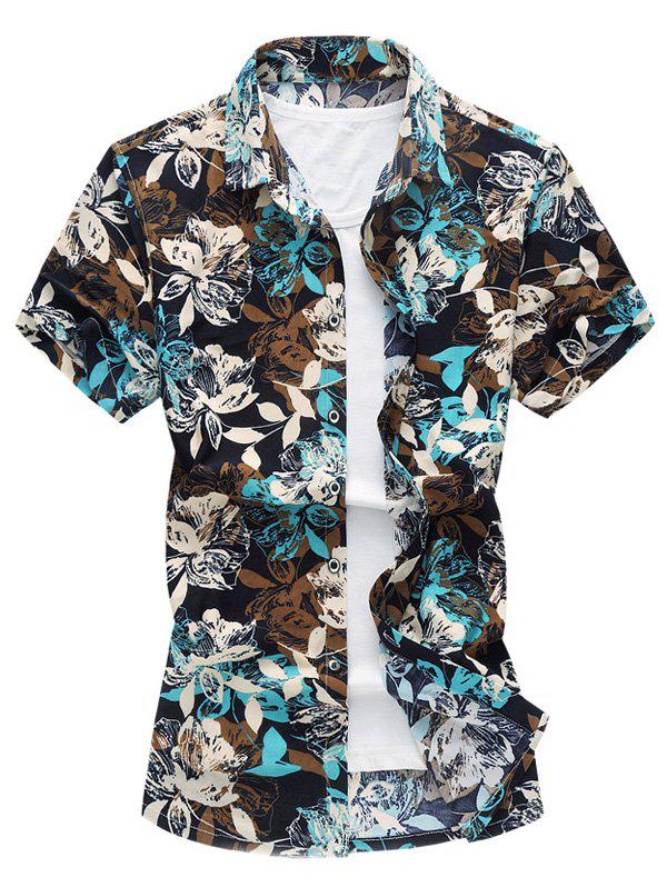 Single Breasted Flowers Printed Turn Down Collar Men's Shirt - BLUE 4XL