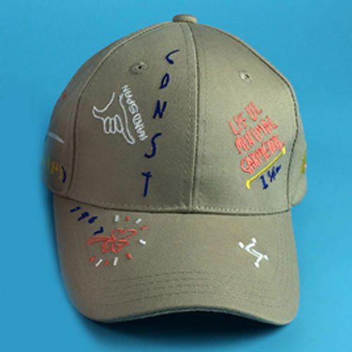 Chic Graffiti Embroidery Women's Baseball Cap - DARK KHAKI
