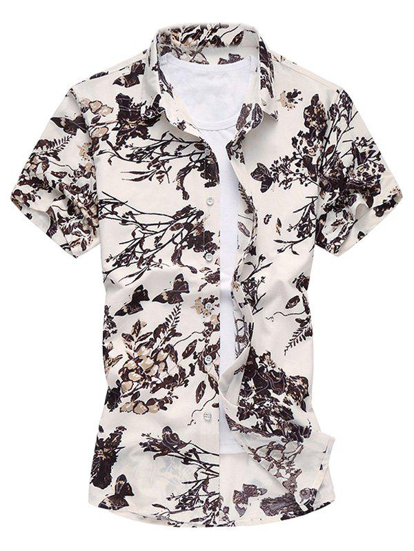 Single Breasted Plant Printed Turn Down Collar Men's Shirt
