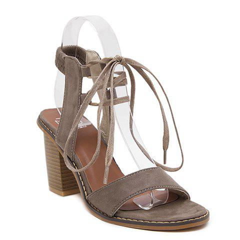 Fashionable Chunky Heel and Elastic Band Design Women's Sandals - DARK APRICOT 36