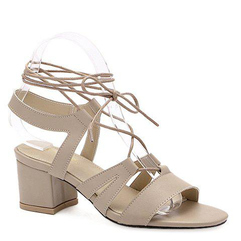 Trendy Chunky Heel and Lace-Up Design Women's Sandals - APRICOT 39
