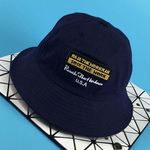 Chic Removable Applique and Letter Embroidery Design Women's Bucket Hat - CADETBLUE