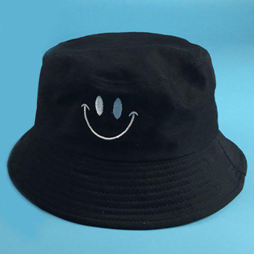 Stylish Smilling Face Embroidery Flat Top Men's Bucket Hat - BLACK