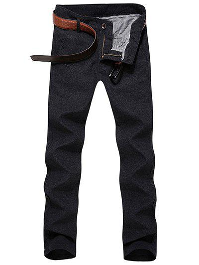 Zipper Fly Solid Color Narrow Feet Slimming Men's Pants