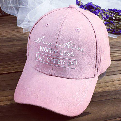 Chic Letters Embroidery Solid Color Women's Suede Baseball Cap - PINK