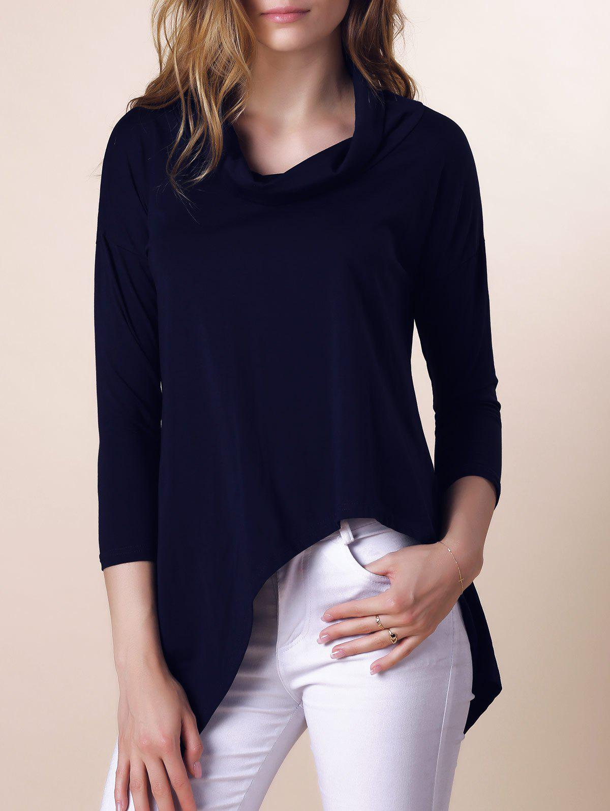 Stylish Purple Half Sleeve Asymmetry Womens T-ShirtWomen<br><br><br>Size: S<br>Color: DEEP BLUE