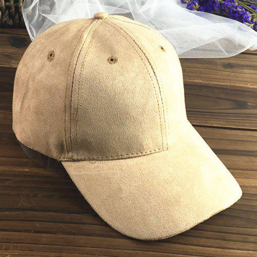 Chic Letter A Embroidery Side Women's Suede Baseball Cap - LIGHT KHAKI