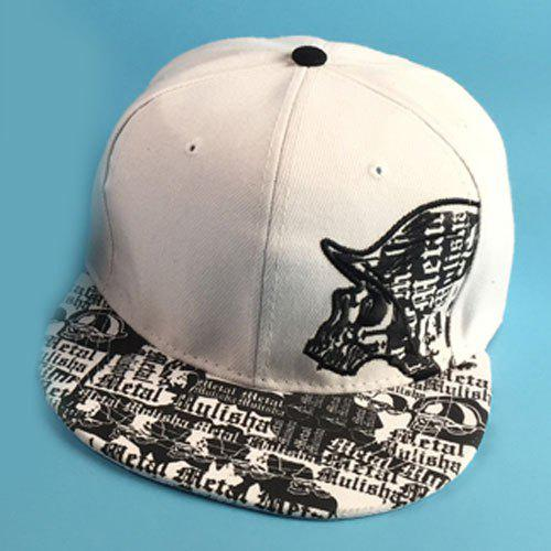 Stylish Skull Embroidery Gothic Letters Pattern Brim Men's Baseball Cap - WHITE