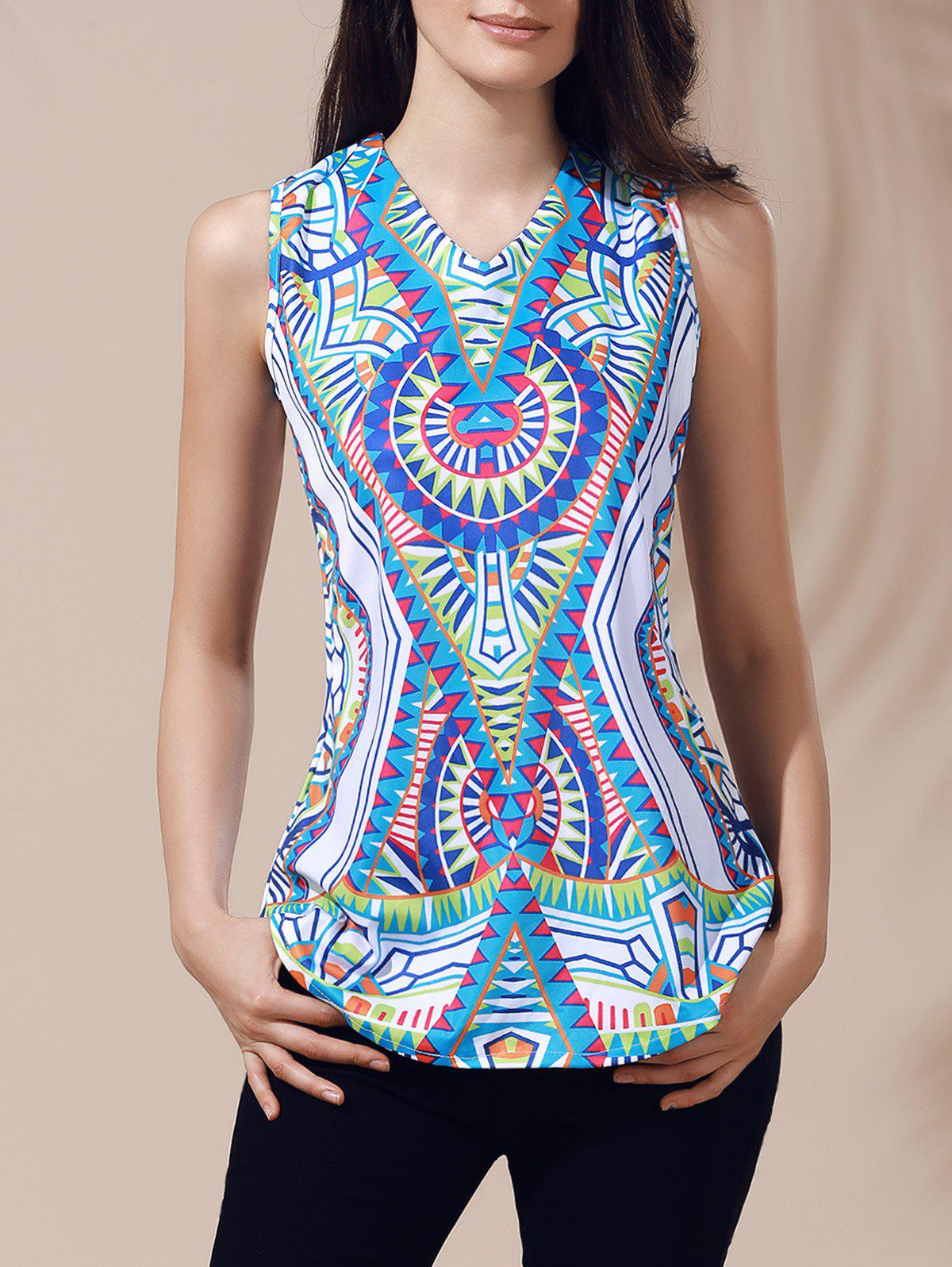 Ethnic Women's V-Neck Printed Cut Out Top - S GREEN
