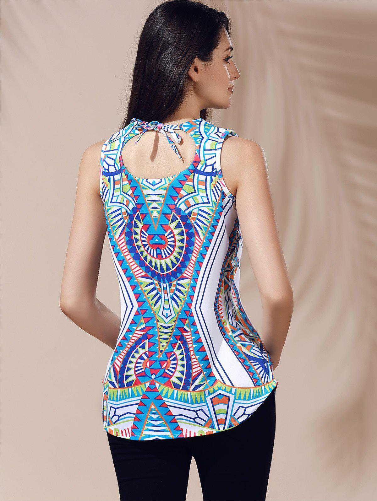 Ethnic Women's V-Neck Printed Cut Out Top - GREEN XL