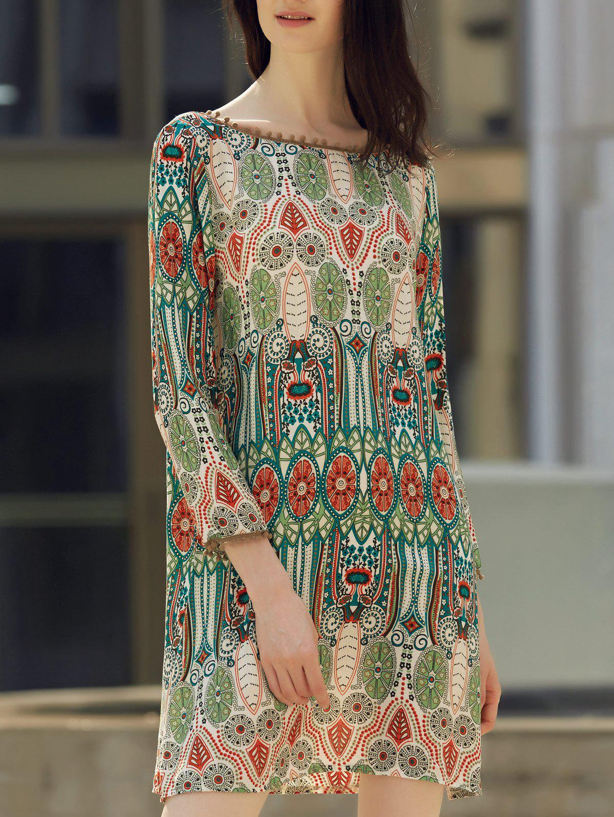 Ethnic Style Printed Slash Neck Back V-Shape Design Dress For Women ethnic style v neck fringed printed shift dress