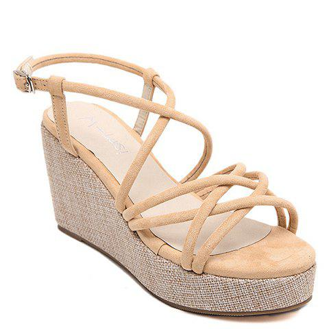 Fashionable Cross Straps and Suede Design Women's Sandals - APRICOT 36