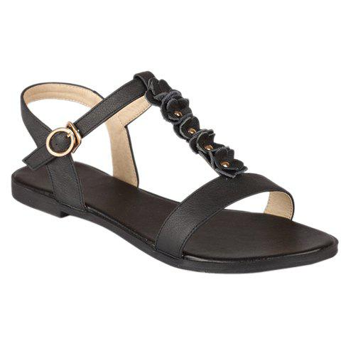 Sweet T-Strap and Flower Design Women's Sandals - BLACK 39