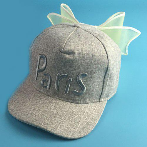 Chic Letters Embroidery Big Bowknot Women's Baseball Cap - GRAY