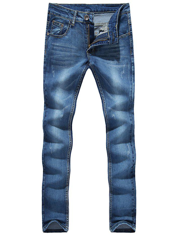 Zipper Fly Cat's Whisker Bleach Wash Embroidered Narrow Feet Slimming Men's Jeans - BLUE 30