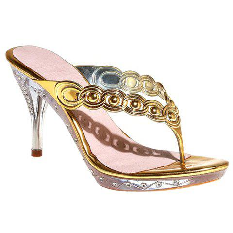 Fashion Flip Flop and Rhinestone Design Women's Slippers - GOLDEN 38