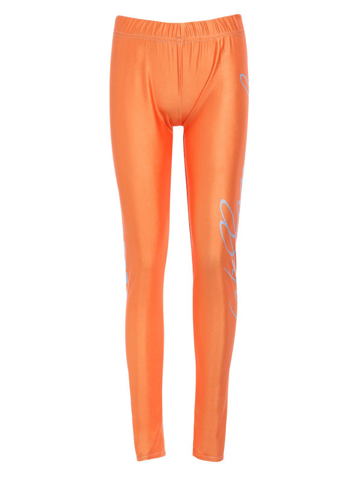 Sports Elastic Waist High-Waisted Bodycon Letter Print Women's Leggings - ORANGE M