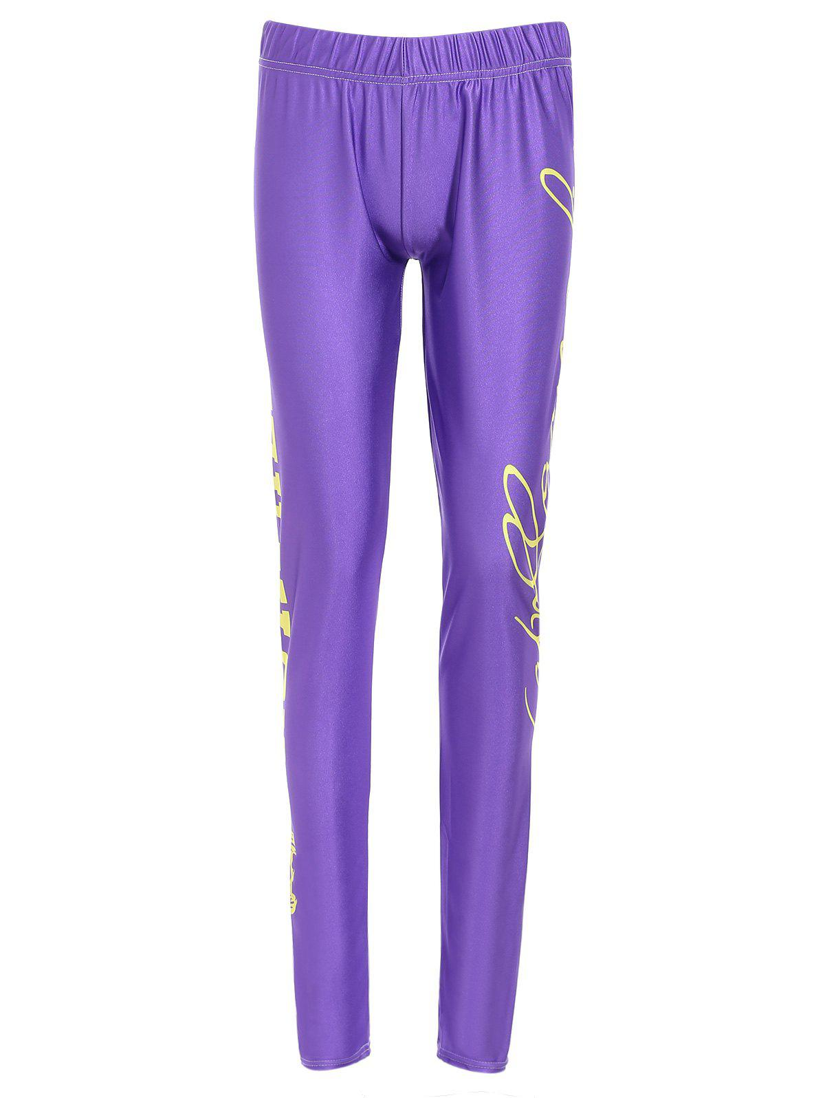 Sports Elastic Waist High-Waisted Bodycon Letter Print Women's Leggings - PURPLE M