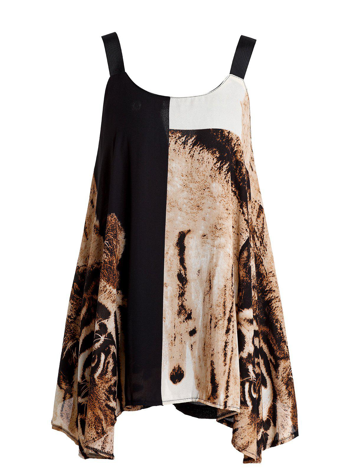 Stylish Women's Color Block Tiger Printed Asymmetric Top + Shorts Twinset