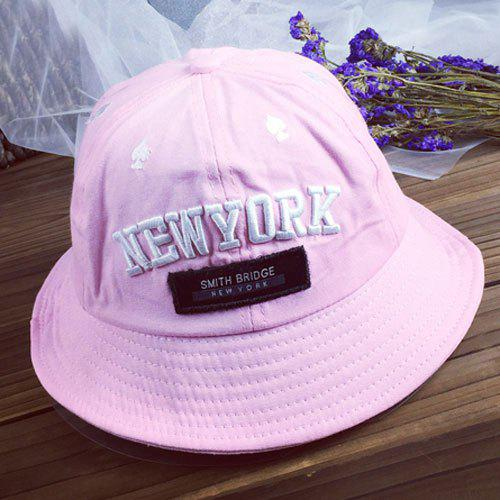 Chic Spades and Letter Embroidery Women's Bucket Hat - PINK