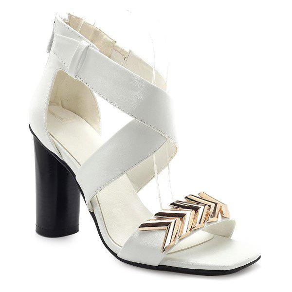 Stylish Cross Straps and Metal Design Women's Sandals - WHITE 38