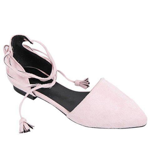 Trendy Lace-Up and Tassels Design Women's Flat Shoes