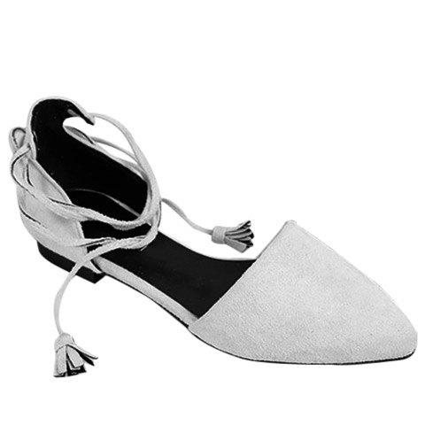 Trendy Lace-Up and Tassels Design Women's Flat Shoes - LIGHT GRAY 37