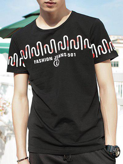 Men's Summer Abstract Letter Print Round Neck Short Sleeve T-Shirt - BLACK XL
