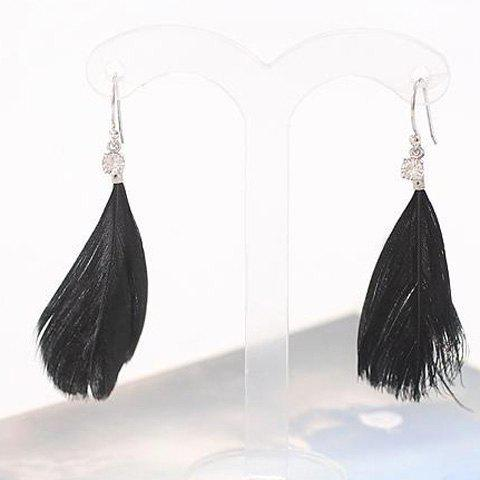 Pair of Simple Rhinestone Faux Feather Earrings For Women - BLACK