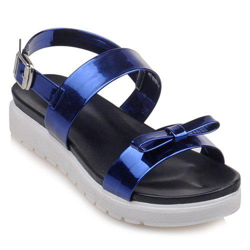 Fashionable Bowknot and Patent Leather Design Women's Sandals - BLUE 39