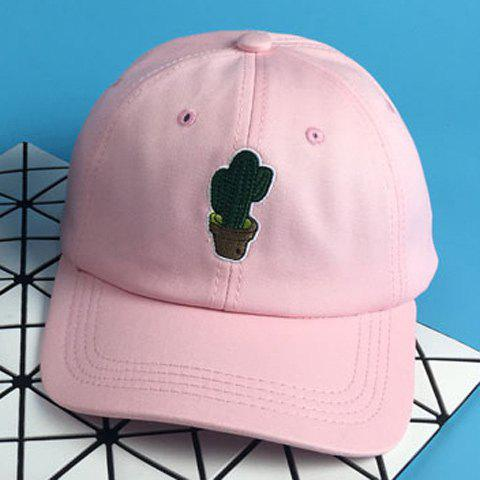 Chic Cactus Potting Embroidery Women's Baseball Cap - PINK