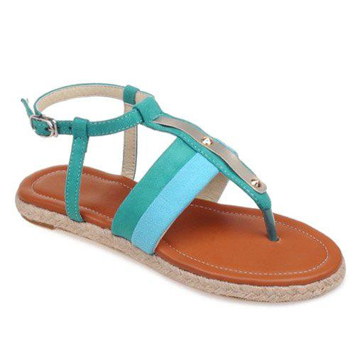 Simple Weaving and Color Block Design Women's Sandals