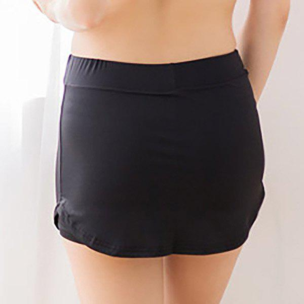 Fashionable Mid-Waist Solid Color Skirted Women's Sports Shorts - BLACK M
