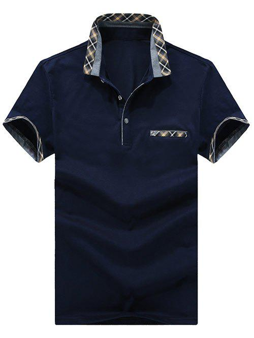 Turn-Down Collar Checked Print Spliced Edging Short Sleeve Men's Polo T-Shirt