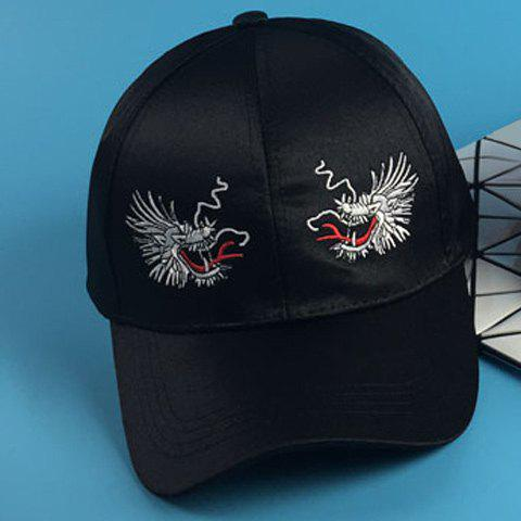 Stylish Two Dragon Heads Embroidery Men's Silky Baseball Cap - BLACK
