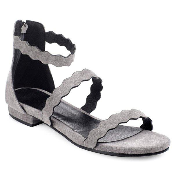 Casual Zip and Flat Heel Design Women's Sandals