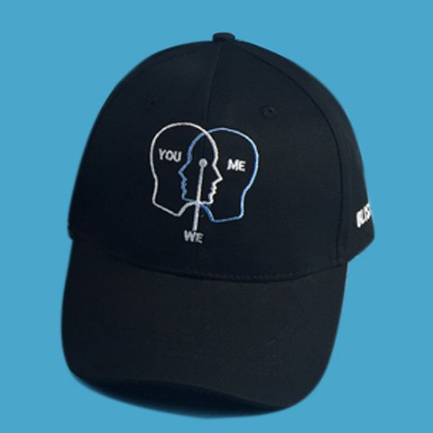 Stylish Personality Head and Letters Embroidery Men's Black Baseball Cap personality traits and interpretaion