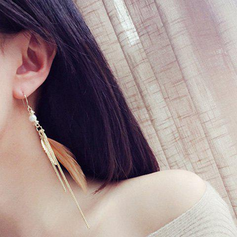Pair of Delicate Faux Pearl Feather Chain Earrings For Women - EARTHY