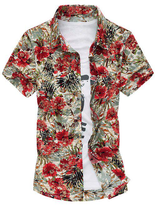 Casual Turn Down Collar Flowers Printing Shirt For Men - RED 4XL