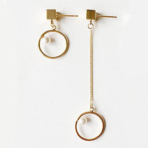 Pair of Faux Pearl Circle Asymmetric Earrings - GOLDEN
