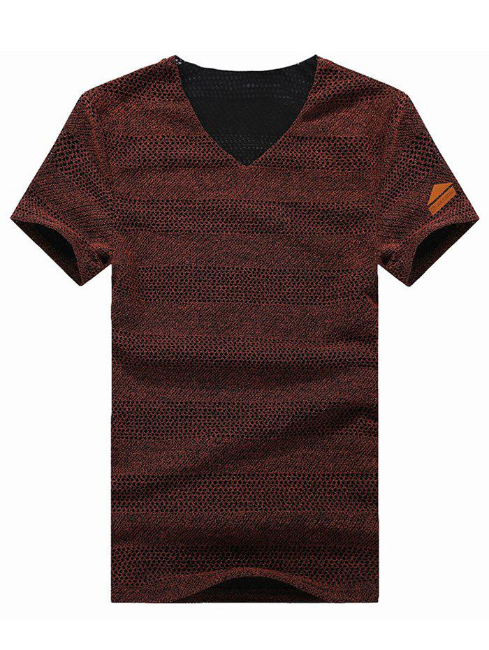 Grid Design Solid Color V-Neck Cotton+Linen Short Sleeve Men's T-Shirt - WINE RED M