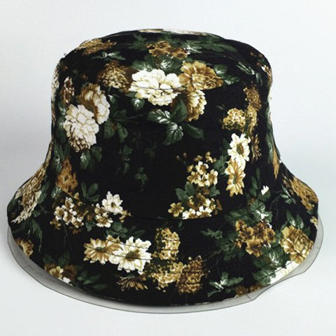 Chic Dark Color Blooming Flowers Pattern Women's Black Bucket Hat - BLACK