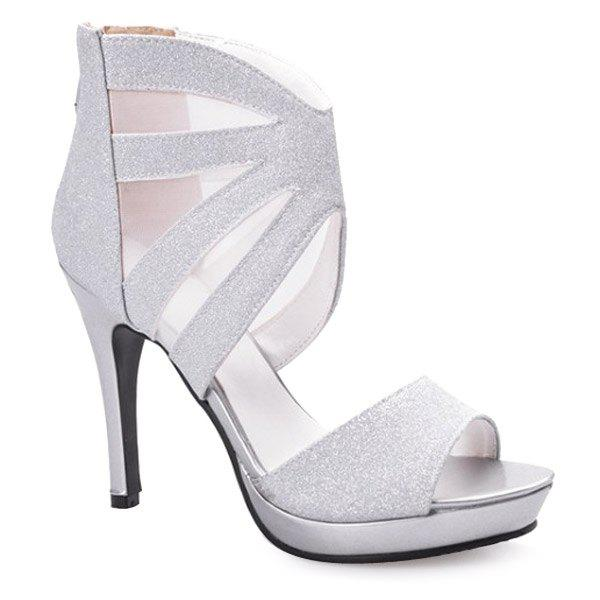 Stylish Platform and Gauze Design Women's Sandals - SILVER 37