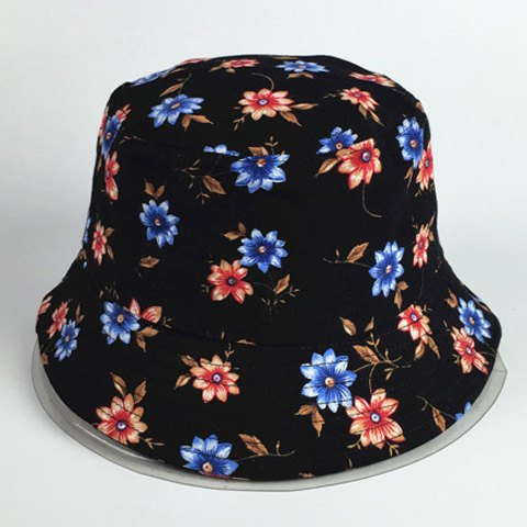 Chic Small Flowers Pattern Women's Black Bucket Hat - BLACK