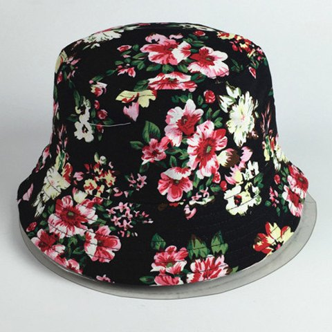 Chic Bright Color Blooming Flowers Pattern Women's Black Bucket Hat - BLACK