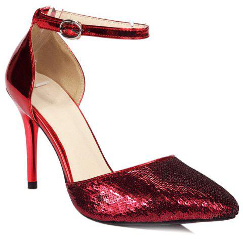 Elegant Pointed Toe and Stiletto Heel Design Women's Pumps - RED 35