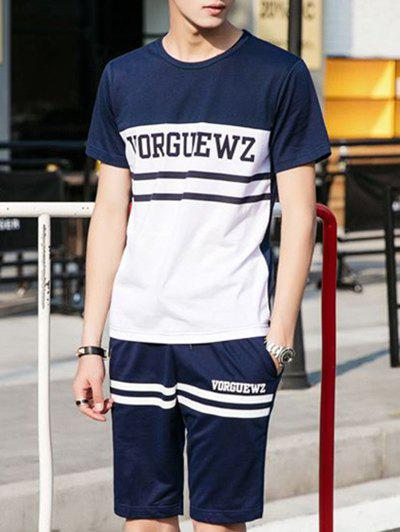 Men's Color Block Stripe Letter Print Round Neck Short Sleeve T-Shirt + Shorts Suit